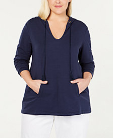 Charter Club Plus Size Hoodie Tunic, Created for Macy's