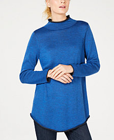 Eileen Fisher Merino Wool Funnel-Neck Sweater, Created for Macy's