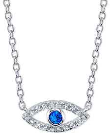 "Unwritten Crystal Evil Eye Pendant Necklace in Sterling Silver, 16"" + 2"" extender"