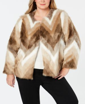 Alfani Plus Size Faux-Fur Coat, Created for Macy's - Chevron Fur