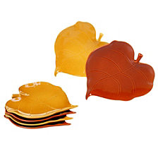 Certified International Autumn Fields 6-Pc. 3-D Leaf Appetizer Plates 2 asst. Pumpkin/Harvest Gold