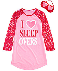 Max & Olivia Big Girls Sleepovers Nightgown & Eye Shade