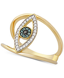 Wrapped™ Diamond Evil Eye Ring (1/6 ct. t.w.) in 14k Gold, Created for Macy's