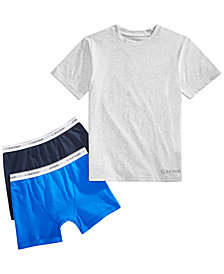 Calvin Klein Little & Big Boys 3-Pc. Cotton T-Shirt & Boxer-Briefs Set