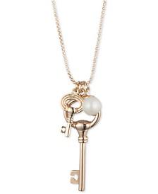"Lauren Ralph Lauren Gold-Tone Imitation Pearl & Keys 36"" Pendant Necklace"