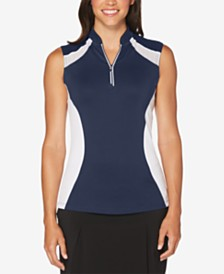 Callaway Colorblocked Sleeveless Quarter-Zip Golf Top
