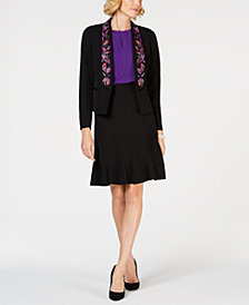 Kasper Crepe Jacket, Keyhole Blouse & Flare Skirt