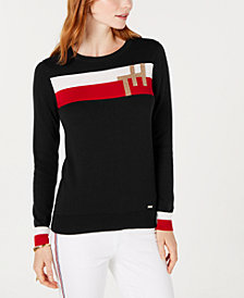 Tommy Hilfiger Colorblock Monogram Sweater, Created for Macy's