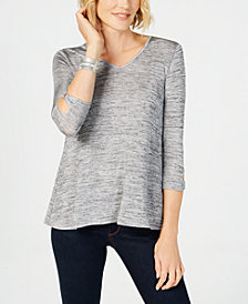 John Paul Richard Petite Back Lace-Up Sweater