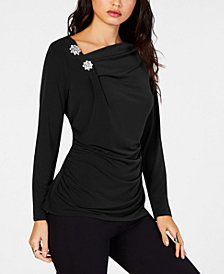 Thalia Sodi Embellished Ruched Top, Created for Macy's