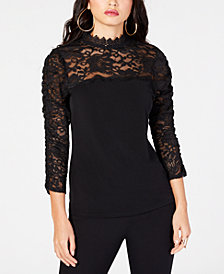 Thalia Sodi Mock-Neck Lace Top, Created for Macy's