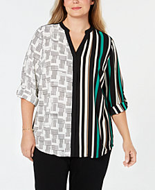 Alfani Plus Size Mixed-Print Cuffable Blouse, Created for Macy's