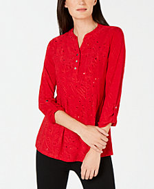 NY Collection Petite Embellished Jacquard Top