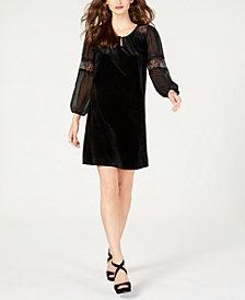 NY Collection Petite Velvet Lace-Trim Dress