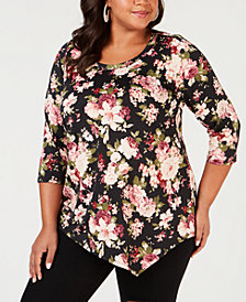 NY Collection Plus Size Printed Asymmetrical-Hem Top