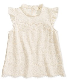 Big Girls Ruffle-Trim Lace Top
