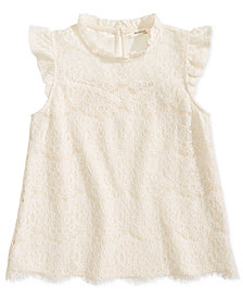 Monteau Big Girls Ruffle-Trim Lace Top
