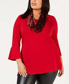 NY Collection Plus Size Bell-Sleeve Top & Printed Velvet Scarf
