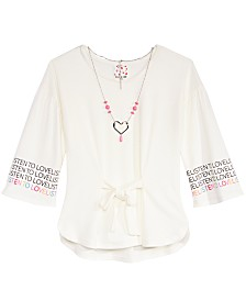 Belle Du Jour Big Girls Tie-Front Top & Necklace