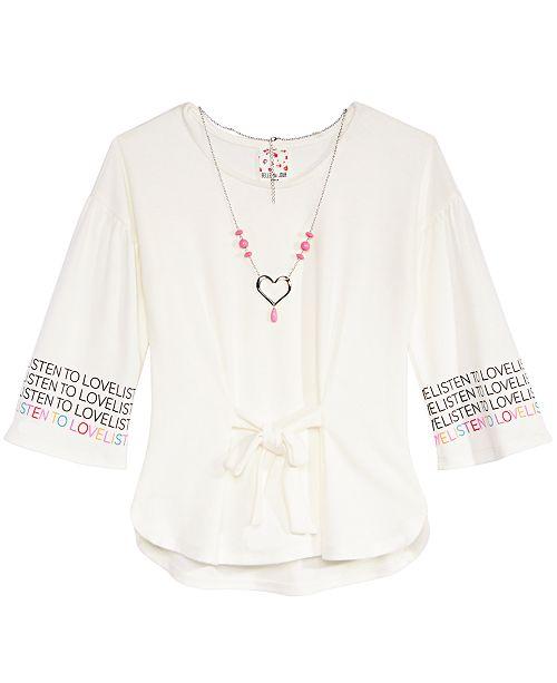 Big Girls Tie-Front Top & Necklace