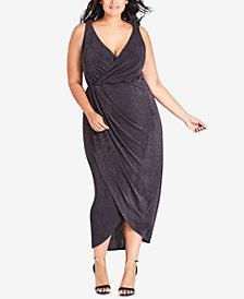 City Chic Trendy Plus Size Cowl-Back Faux-Wrap Dress