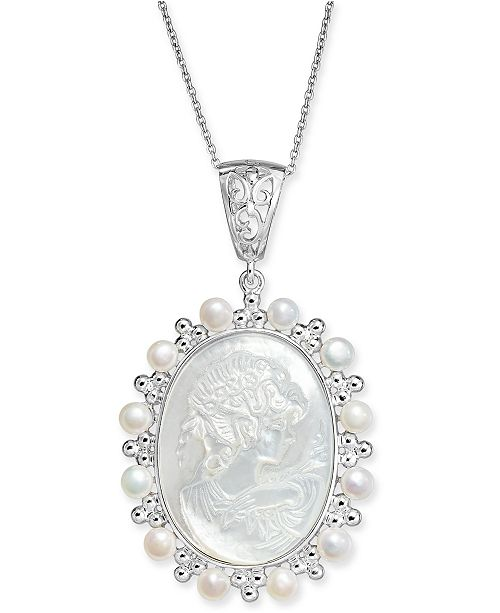 Macy's Cultured Freshwater Pearl (4mm) & Mother-of-Pearl Cameo Pendant Necklace in Sterling Silver