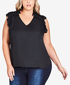 City Chic Trendy Plus Size Frilled Top