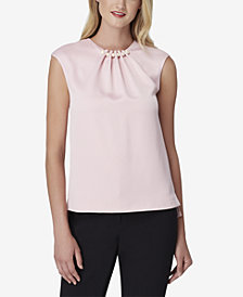 Tahari ASL Sleeveless Imitation-Pearl Blouse