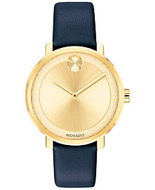 Movado Women's Swiss BOLD Navy Leather Strap Watch 34mm