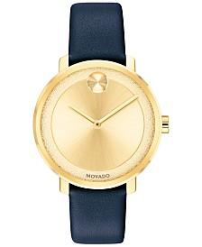 Movado Women's Swiss BOLD Navy Leather Strap Watch 34mm