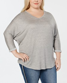 Celebrity Pink Trendy Plus Size V-Neck Top