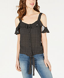 Material Girl Juniors' Cold-Shoulder Tie-Front Top, Created for Macy's