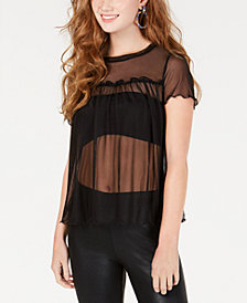 Material Girl Juniors' Sheer Mesh Babydoll Top, Created for Macy's