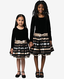 Bonnie Jean Toddler, Little & Big Girls Velvet Jacquard Striped Dress