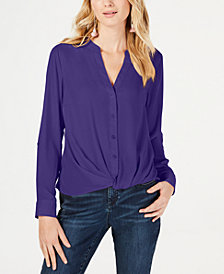 I.N.C. Twist-Front Button-Up Top, Created for Macy's
