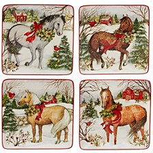 Christmas on the Farm 4-Pc. Dessert Plate asst.