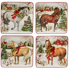 Certified International Christmas on the Farm 4-Pc. Dessert Plate asst.