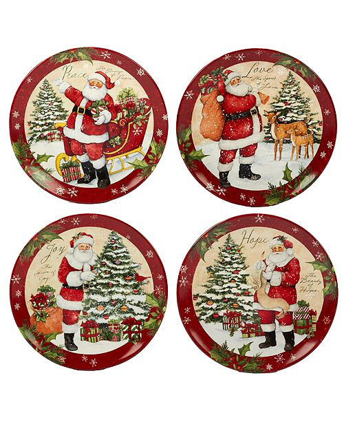 Certified International Holiday Wishes 4-Pc. Dinner Plate asst.