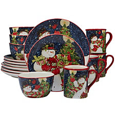 Certified International Starry Night Snowman 16-Pc. Dinnerware Set