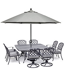 "Grove Hill II Outdoor Aluminum 9-Pc. Dining Set (64"" x 64"" Square Table, 4 Dining Chairs & 4 Swivel Chairs) with Sunbrella® Cushions, Created for Macy's"