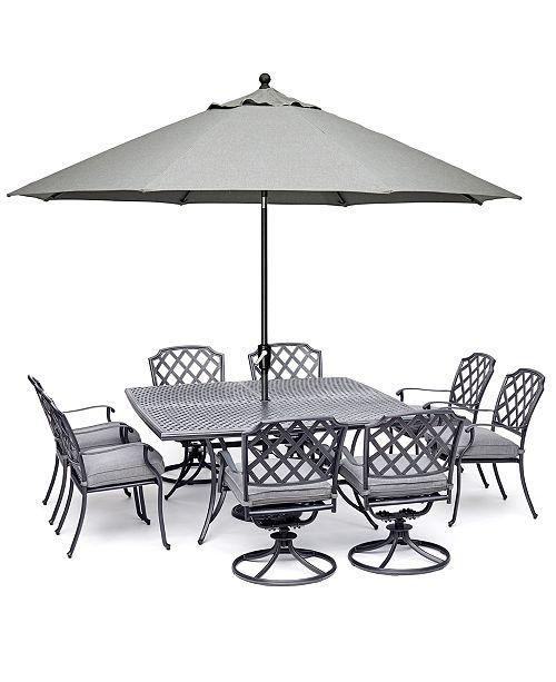 fa74793903b Furniture Grove Hill II Outdoor Cast Aluminum 9-Pc. Dining Set (64 ...