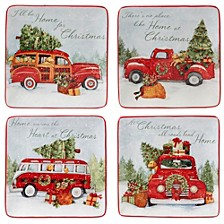 Home for Christmas 4-Pc. Dessert Plate asst.