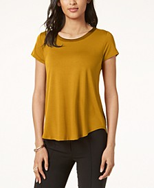 Satin-Trim High-Low T-Shirt, Created for Macy's