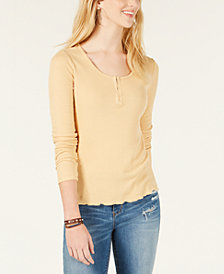Hippie Rose Juniors' Rib-Knit Henley T-Shirt