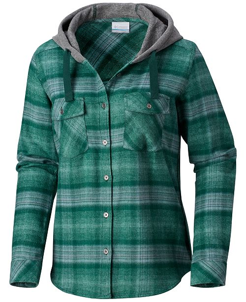 Columbia Women's Canyon Point II Cotton Flannel Plaid Hooded Shirt