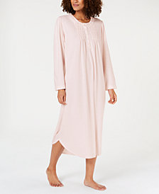 Miss Elaine Smocked Pointelle Knit Long Nightgown