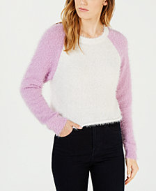 Planet Gold Juniors' Fuzzy Cropped Baseball Sweater