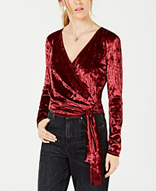 Derek Heart Juniors' Velvet Wrap Top