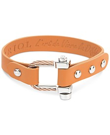 CHARRIOL Leather Strap Cable Bracelet in Stainless Steel