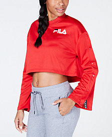 Fila Flared Snap-Sleeve Cropped Sweatshirt